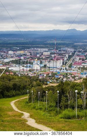 Yuzhno-sakhalinsk, Russia - August 30, 2019: View From Mount Bolshevik To Victory Avenue, Cathedral