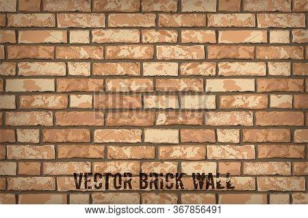 Realistic Vector Brick Wall Background. Flat Wall Texture. Orange Textured Brickwork For Print, Desi