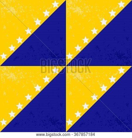 Bosnia And Herzegovina Flag Seamless Pattern. Happy Independence Day Of Bosnia And Herzegovina. Bosn