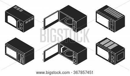Microwave Vector Black Set Icon. Vector Illustration Kitchen Oven On White Background . Isolated Bla