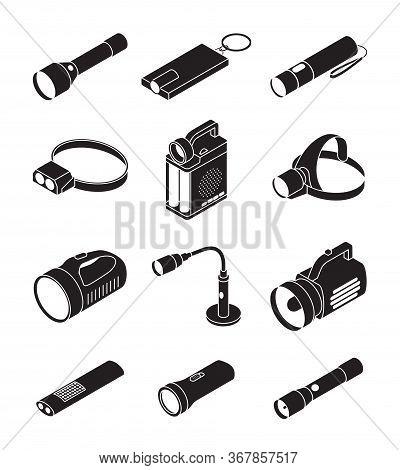 Flashlight Vector Illustration On White Background . Black Set Icon Spotlight. Vector Black Set Icon