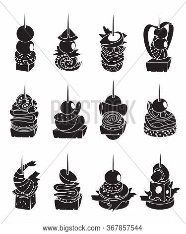 Canape Of Food Vector Illustration On White Background. Isolated Black Set Icon Appetizer. Vector Bl