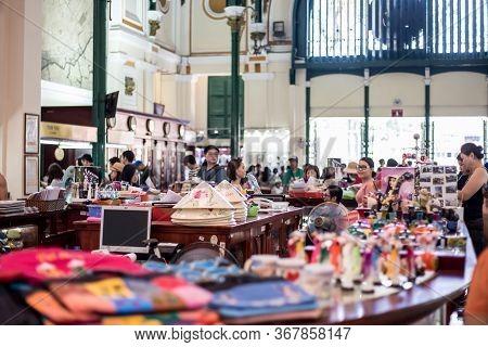 Ho Chi Minh City, Vietnam, April 22 2016.that Sells Souvenirs For Tourists At Saigon Central Post Of
