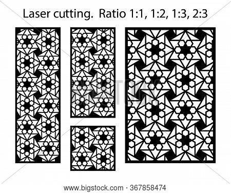 Jali Decorative Vector Panel, Fence, Screen Design. Cnc Template Set. Laser Cut Pattern Kit. Set Of