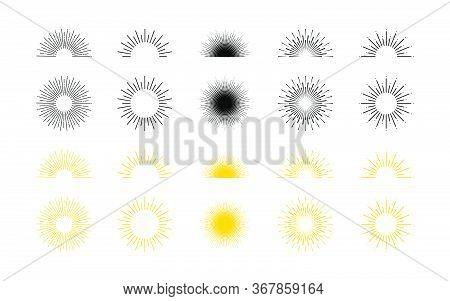 Sunburst And Sunrise, Line Illustration. Sun Rays Collection. Sunburst. Sunrise. Sunburst Or Sunrise