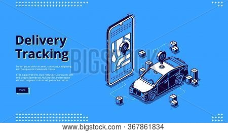 Delivery Tracking Banner. Online Mobile Service For Track Shipping Parcel, Cargo Or Post. Vector Lan