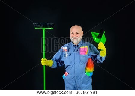 Cleaning. Smiling Man With Cleaning Tools. Bearded Man In Uniform With Broom And Scoop. Household. H