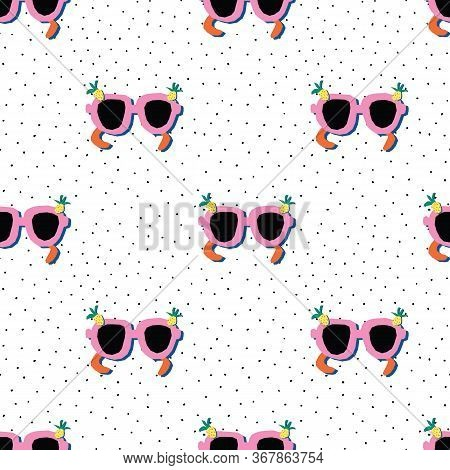 Sunglasses Seamless Vector Pattern. Pink Sunshades With Pineapples On A White Background With Black