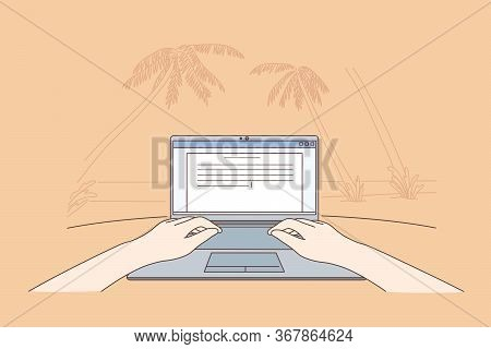 Freelance, Coding, Remote Work, Business Concept. Human Freelancer Cartoon Chararacter Sitting On Se
