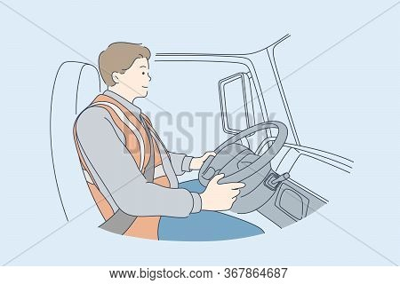 Delivery, Driving Concept. Young Man Or Boy Car Driver Cartoon Character. Truck Driver Sitting In Ca