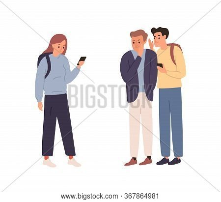 Two Angry Student Guy Spreading Rumors And Gossiping About Girl Classmate Vector Flat Illustration.