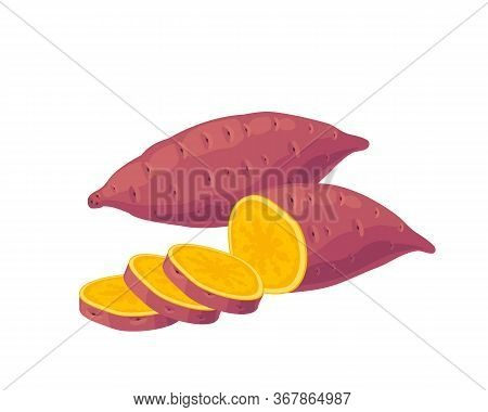 Sweet Potato, Purple Whole Tuber And Sliced. Vector Illustration Cartoon Flat Icon Isolated On Pink.