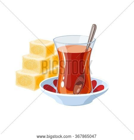 Turkish Delight And Traditional Glass Of Tea. Vector Illustration Flat Cartoon Icon Isolated On Whit