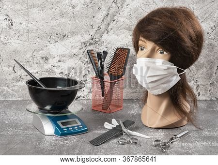 A New Reality Emerged During The Coronavirus Pandemic. Mannequin In Mask Face, Scales And Bowl With