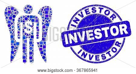 Geometric Angel Investor Mosaic Pictogram And Investor Seal. Blue Vector Round Distress Seal With In