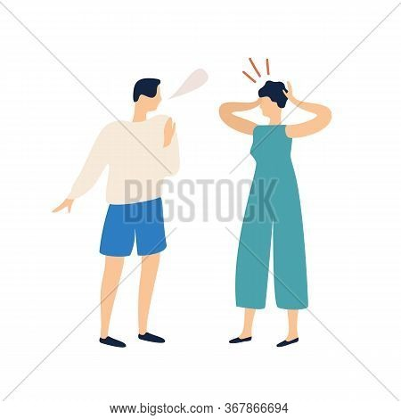 Colorful Male With Speech Bubble Explain To Irritating Woman Vector Flat Illustration. Quarrel Of An