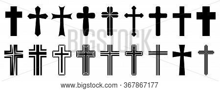 Christian Cross Icons Set. Black Christian Cross Icon Isolated. Vector Illustration. Religion Cross