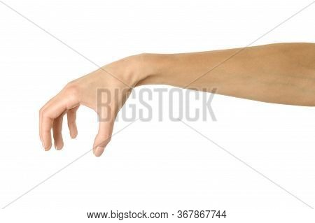 Hand Picking, Holding, Grabbing Or Reaching. Woman Hand With French Manicure Gesturing Isolated On W