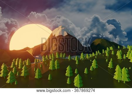 Lowpoly Landscape Nature With Mountains Trees And Clouds Sunset Background Minimal Animation 3d Rend