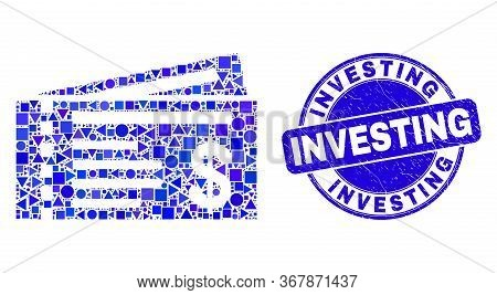 Geometric Dollar Cheques Mosaic Pictogram And Investing Stamp. Blue Vector Rounded Textured Seal Sta