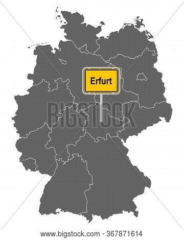 Detailed And Accurate Illustration Of Map Of Germany With Road Sign Of Erfurt