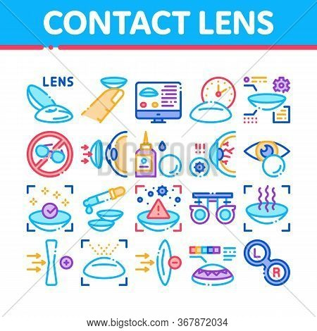 Contact Lens Accessory Collection Icons Set Vector. Contact Lens On Finger, Eyedropper With Liquid,