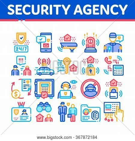 Security Agency Property Protect Icons Set Vector. Security Agency Service Video Monitoring Cctv And