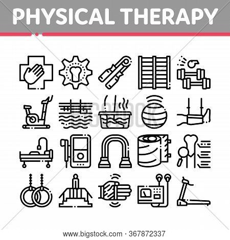 Physical Therapy And Recovery Icons Set Vector. Treadmill And Exercise Bike, Dumbbells And Ball Equi