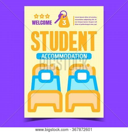 Student Accommodation Creative Promo Poster Vector. Bed With Mattress And Pillow In College Room For