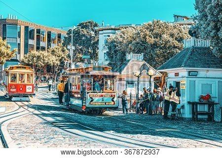 Retro, Vintage And Tourist Cable Car. San Francisco, California.