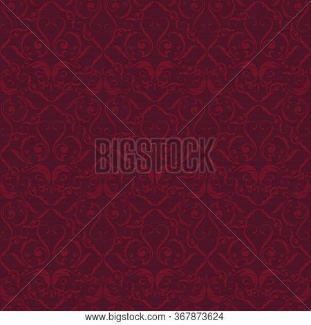 Red Velvet Flourish Ornated Seamless Background. Plain Style.