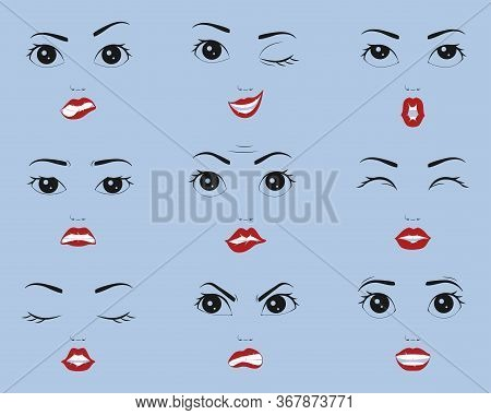 Set Of Female Emotions, Female Faces With Different Emotions. Expression Of Female Faces, Lips, Nose
