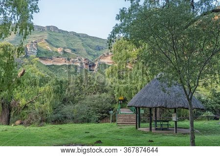 Golden Gate Highlands National Park, South Africa - March 4, 2020: The Start Of The Hiking Trails At