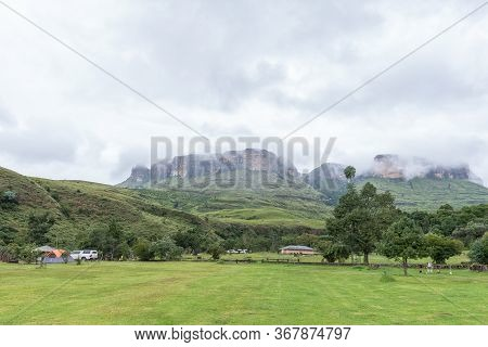Royal Natal National Park, South Africa - March 16, 2020: A View Of The Mahai Caravan Park And Campi