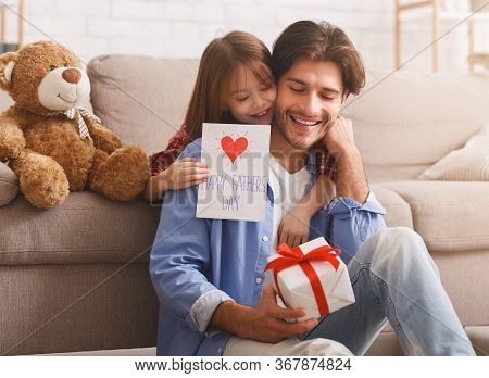 Happy Father Day, Sweet Girl Surprising Her Daddy With Gift And Self-made Card, Happy Dad Holding Gi