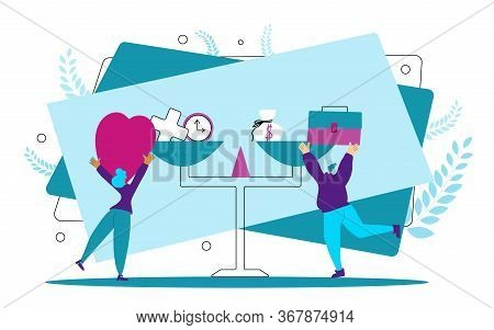 Work Life Balance. Two Young Women Putting On The Scale Work And Love Symbols. Tiny Girls Try To Cho