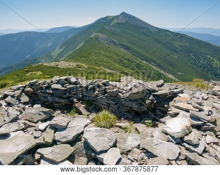 Remnants Of Old Military Positions Of The First World War Laid Out Of Stones On The Mountain Ridge I