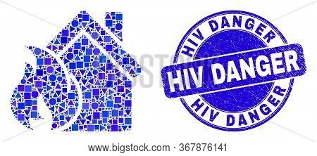 Geometric House Fire Damage Mosaic Icon And Hiv Danger Seal Stamp. Blue Vector Round Grunge Seal Sta