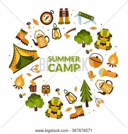 Summer Camp Banner Template With Hiking Equipment Of Round Shape, Camping, Mountaineering, Hiking, T