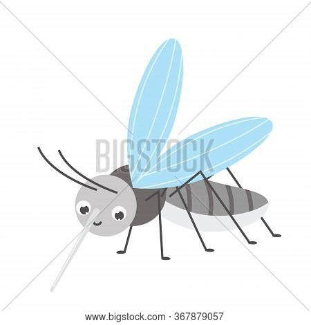 Cute Mosquito. Cartoon Insect Character. Vector Illustration, Clip Art