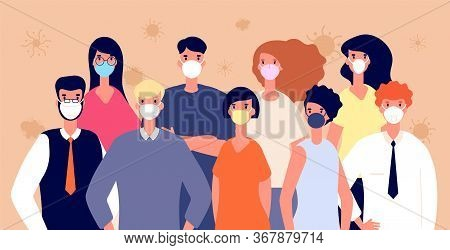 People In Medical Masks. Flu Virus Prevention. Man Woman Wearing Individual Health Protection, Covid