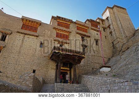 Leh Palace Main Entrance Gate, Leh Ladakh City, Jammu & Kashmir State, India - September 2018