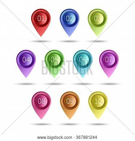 Gps Pins. Map Pointer Set. Travel Destinations Location Tag. 3d Place Or Position Mark, Navigation V