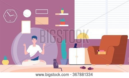 Isolated Man. Introvert At Home, Mental Calm And Meditation. Boy Thinking Or Guy Relaxes Separated F