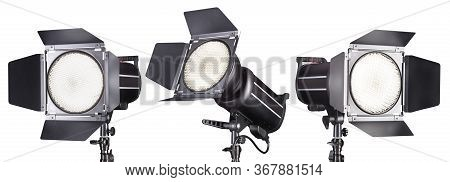 Set Of Photography Studio Flash Isolated On White Background With Lamp.