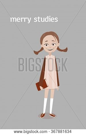 A Cute Smiling School Girl With A Brown Plaits And A Red Book In Her Hand In A Dress And Knee Socks.