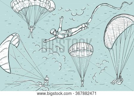 Extreme Sports Concept. Sketch Retro Vector Illustration With Hand Drawn Skydivers Flying With A Par