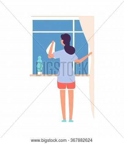 Woman Washing Window. Housework, Cleaning Service Worker. Flat Female With Cloth, Girl Or Housewife