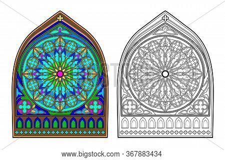 Colorful And Black And White Image Of Gothic Stained Glass Window With Beautiful Rose In Center. Pri