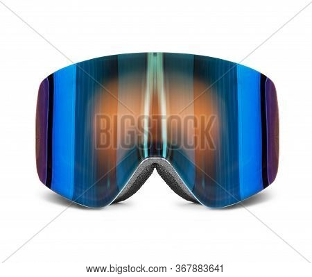 Modern Snowboard Goggles Closeup Isolated On White Background
